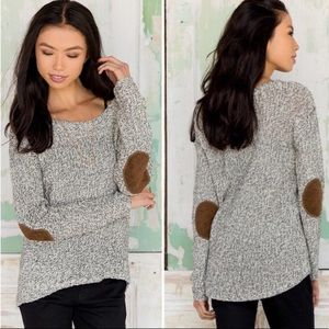 Anthropologie Quinn Gray Elbow Patch Sweater
